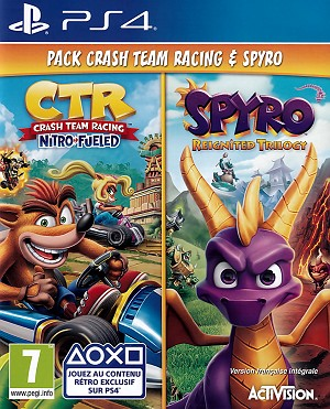 Crash Team Racing Nitro Fueled & Spyro Reignited Trilogy PS4 Game Pack Cover Artwork